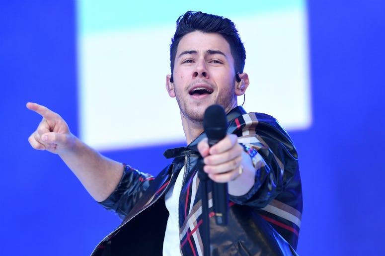 Nick Jonas from the Jonas Brothers on stage during Capital's Summertime Ball.