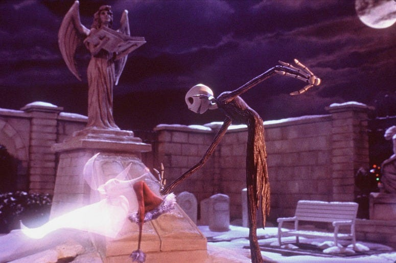 Jack Skellington gets a boost from his ghost dog, Zero