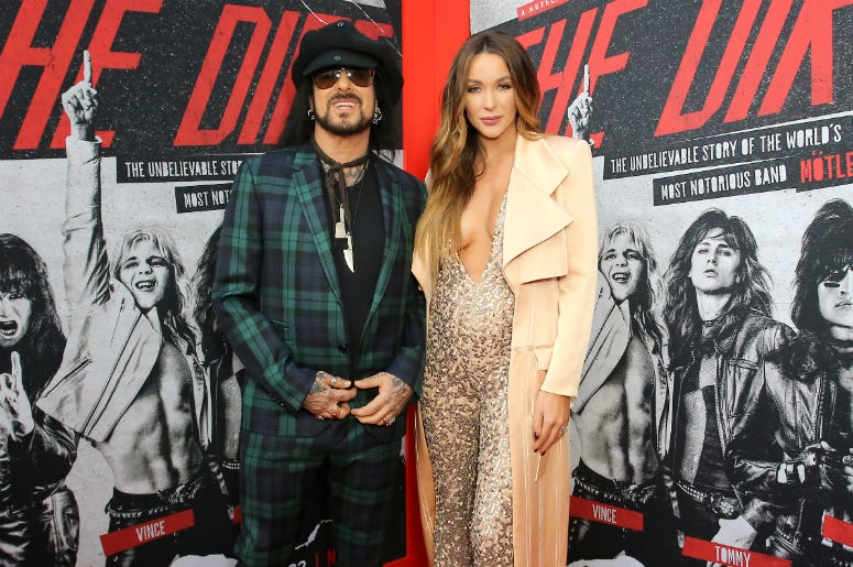"""Nikki Sixx and Courtney Sixx attend the premiere of Netflix's 'The Dirt"""""""