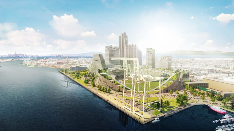 A view of the Oakland A's proposed waterfront stadium project at Howard Terminal in Jack London Square.