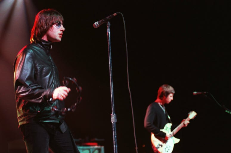 Lead singer of rock group OASIS Liam Gallagher plays to a sell out crowd at the Universal Amphitheatre in 2000
