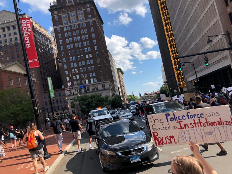 """Black Lives Matter protest in Hartford,  June 19th, 2020; City Council members have raised new questions about police accountability in the wake of the """"dead pool"""" scandal."""
