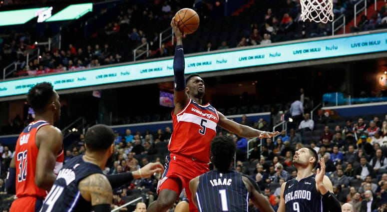 Wizards forward Bobby Portis shoots the ball against the Orlando Magic on March 13, 2019, at Capital One Arena in Washington.