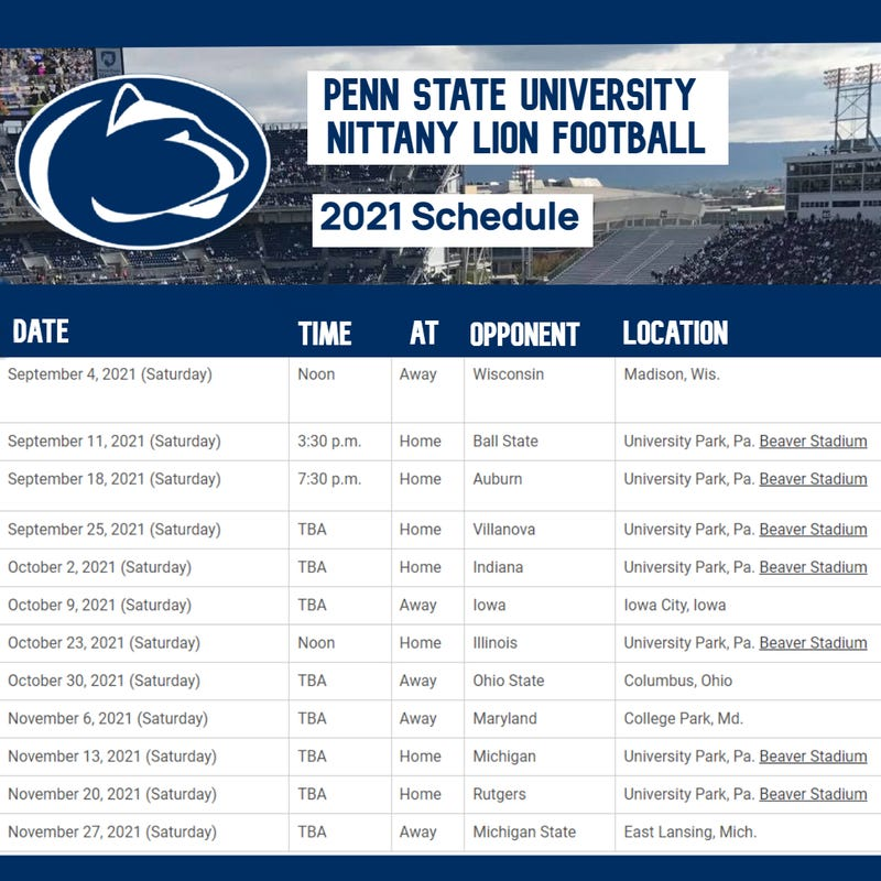 Penn State Football Schedule