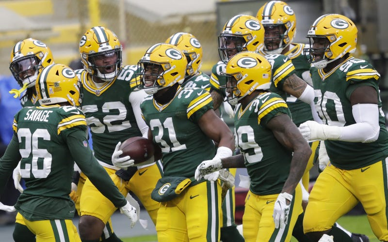 Green Bay Packers strong safety Adrian Amos (31) celebrates his interception with teammates against the Jacksonville Jaguars in the second quarter Sunday, November 15, 2020, at Lambeau Field in Green Bay, Wis. Apc Packvsjaguars 1113200553