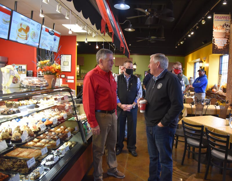 Missouri Governor Mike Parson visits a restaurant in Cape Girardeau on Wed. Oct. 28, 2020