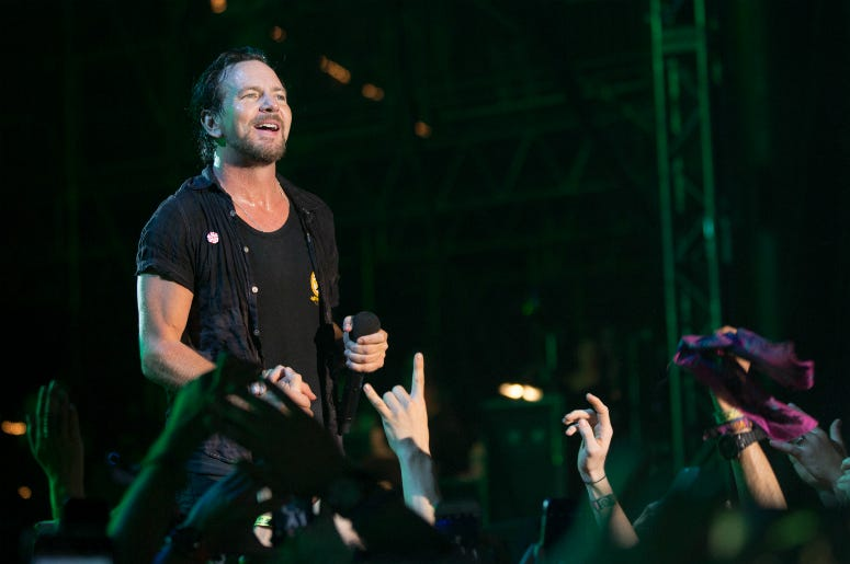 Eddie Vedder of Pearl Jam at Great Stage Park during Bonnaroo Music and Arts Festival on June 11, 2016.