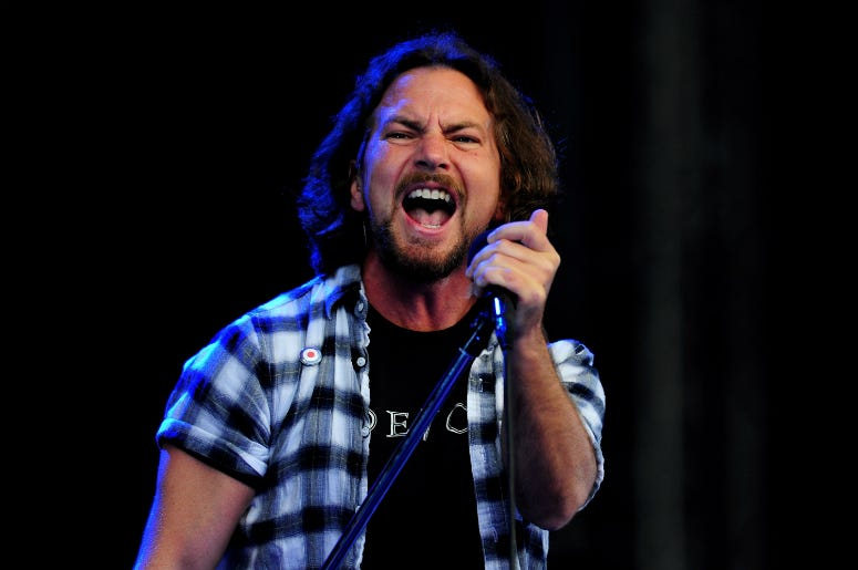 Eddie Vedder of Pearl Jam performs during day 1 of the Hard Rock Calling festival held in Hyde Park