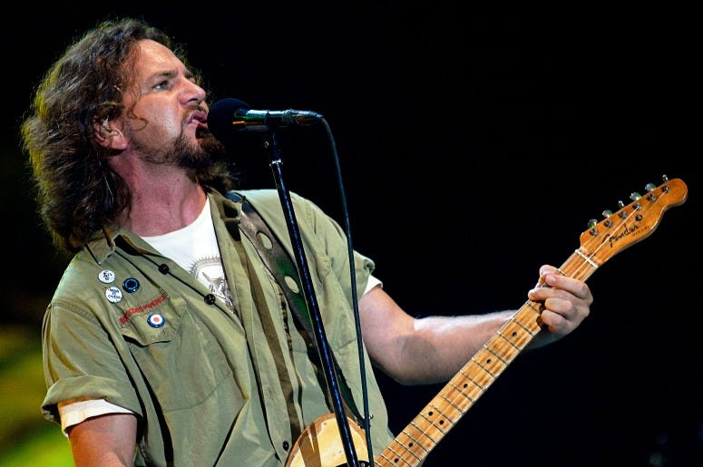 Eddie Vedder of Pearl Jam performs at the 2008 Bonnaroo Music and Arts Festival
