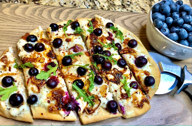 Naan Flatbread with Crispy Caramelized Shallots and Blueberries