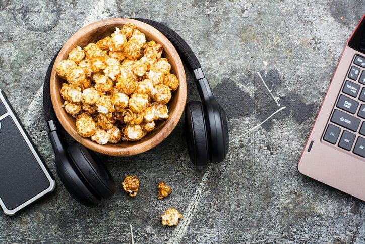 popcorn, headphones
