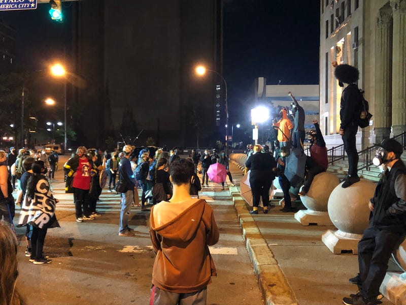 Protesters gather in front of Niagara Square after the grand jury decision in Louisville, Kentucky stemming from the Breonna Taylor case