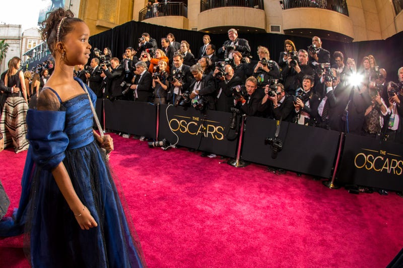Quvenzhané Wallis walking the red carpet at the Oscars