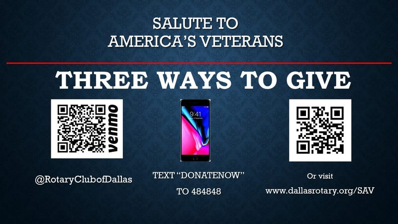 Ways to give to Dallas Rotary's 16th Annual Salute to Veterans