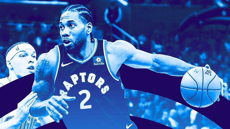 Kawhi Leonard of the Toronto Raptors drives to the basket.