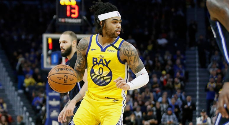 Golden State Warriors guard D'Angelo Russell handles the ball against the Orlando Magic on Jan. 18, 2020, in San Francisco.