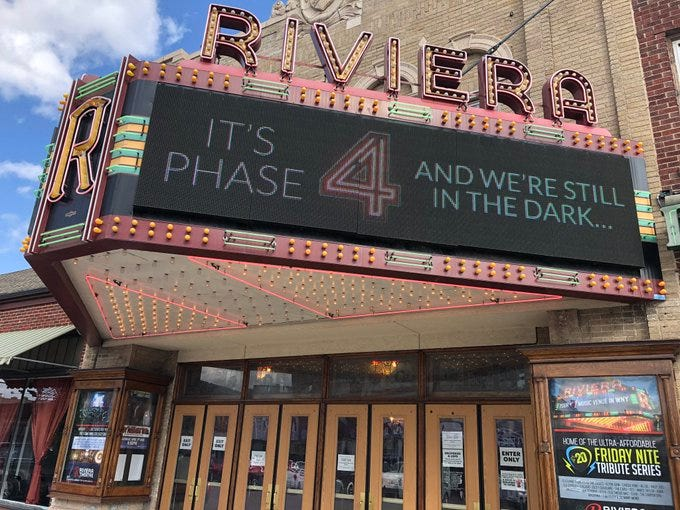 Riviera Theatre takes a jab at NYS after restrictions in September 2020.
