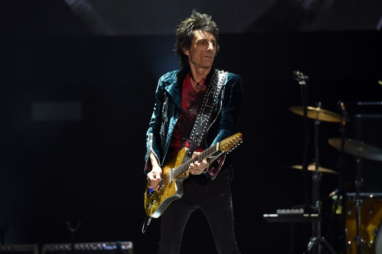 Ronnie Wood of The Rolling Stones performs during Desert Trip at the Empire Polo Field on October 14, 2016