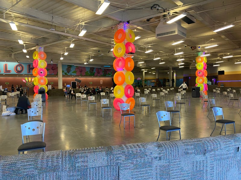Aloha Roller Rink in East San Jose has transformed into a mass COVID-19 vaccination site.