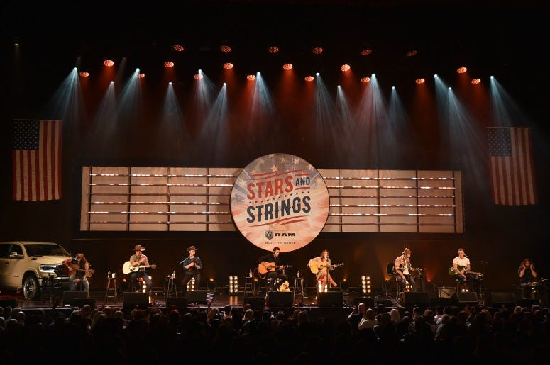 """Jon Pardi, Maren Morris and Ryan Hurd perform on stage during """"Stars and Strings Presented by RAM Trucks Built to Serve,"""" a RADIO.COM Event"""