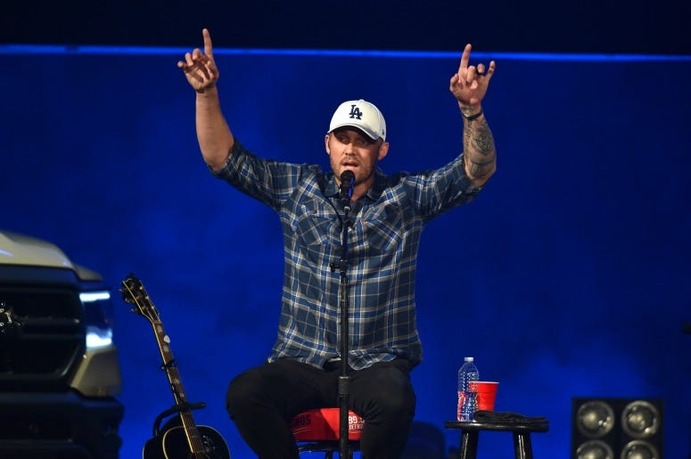 "Brett Young performs on stage during ""Stars and Strings Presented by RAM Trucks Built to Serve,"" a RADIO.COM Event,"