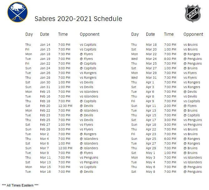Buffalo Sabres Schedule