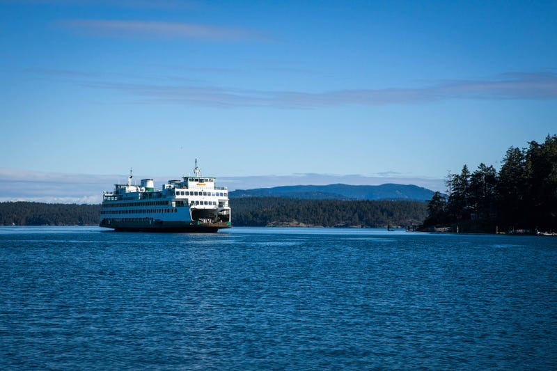 A ferry arrives at Friday Harbor, WA