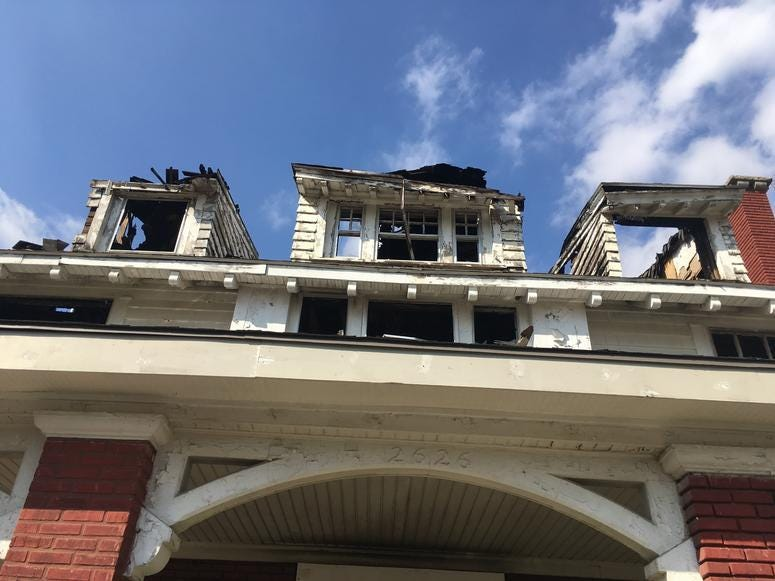 The exterior of Satchel Paige's former home in Kansas City, which was damaged by fire in 2018.