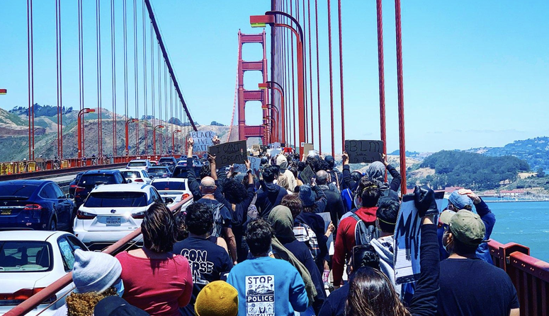 Protesters march across the Golden Gate Bridge in support of the Black Lives Matter movement.