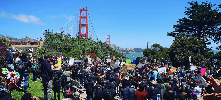 Protesters ready to march across the Golden Gate Bridge.