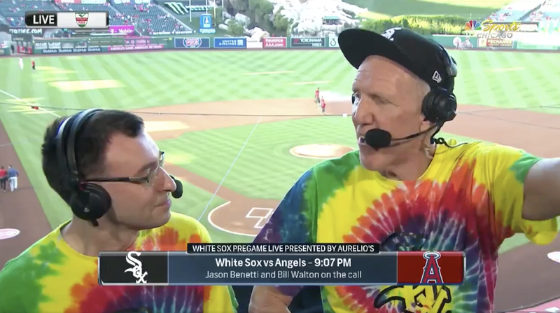 Bill Walton (r.) joins Jason Benetti in the White Sox broadcast booth.