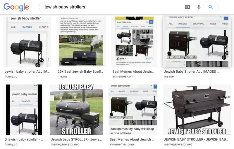 """Search results displayed by Google when looking for """"Jewish baby strollers."""""""
