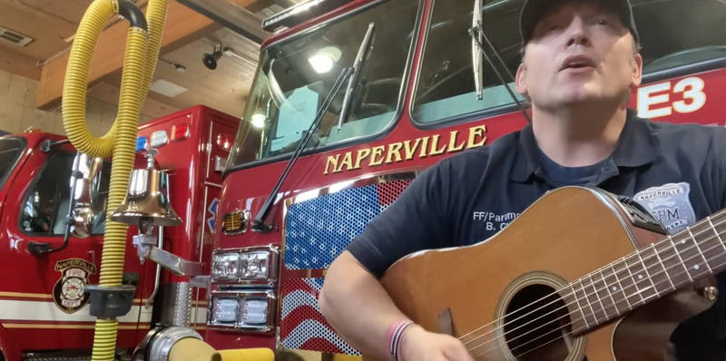A Naperville firefighter found a creative way to tell residents 'Get Your Mask On'.