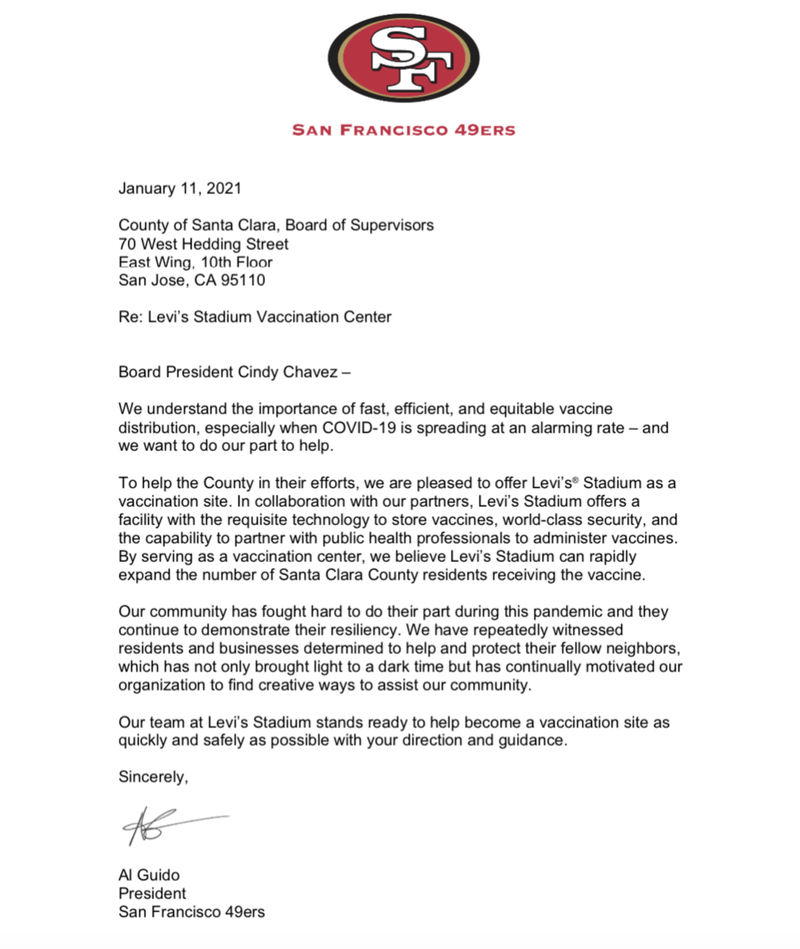 The letter sent late Monday by San Francisco 49ers President Al Guido to Santa Clara County Board of Supervisors President Cindy Chavez.