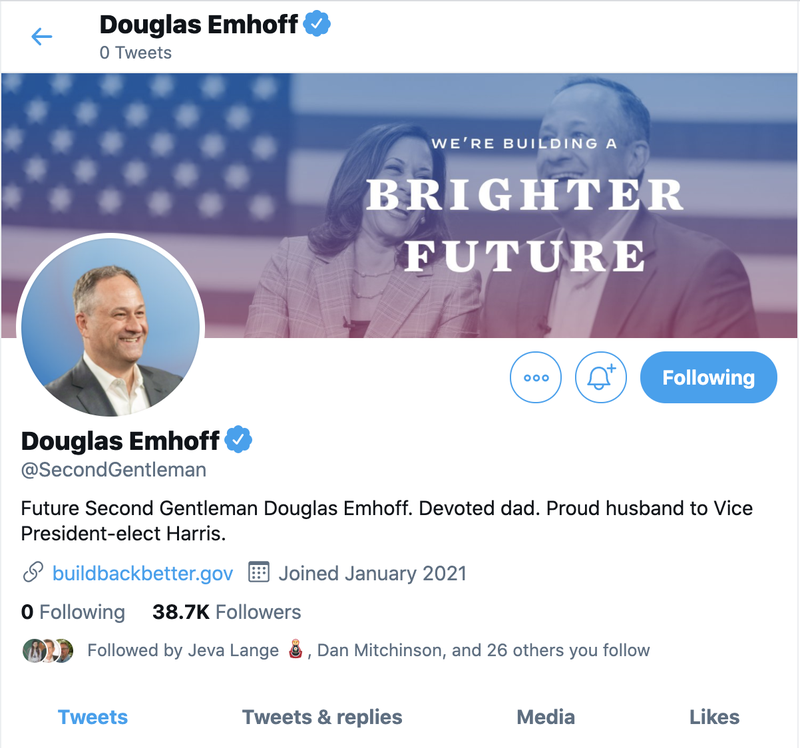 Douglas Emhoff, the incoming Second Gentleman of the United States, on Twitter as @SecondGentleman.
