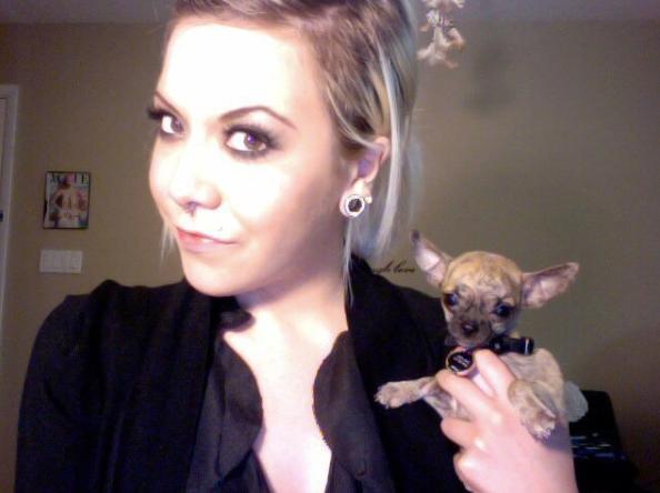 Mollie holding her dog
