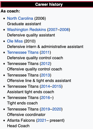 """Arthur Smith's """"updated"""" coaching history"""