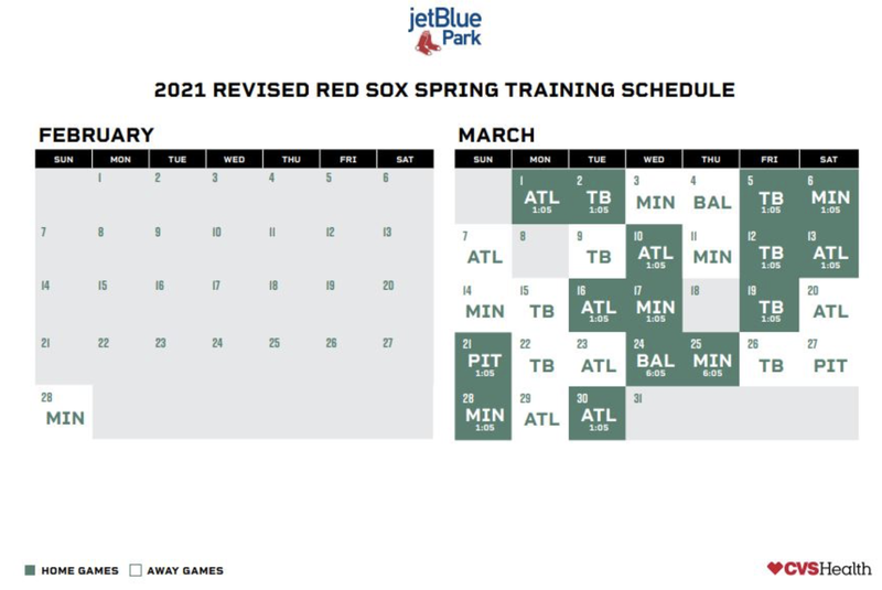 Red Sox spring training schedule