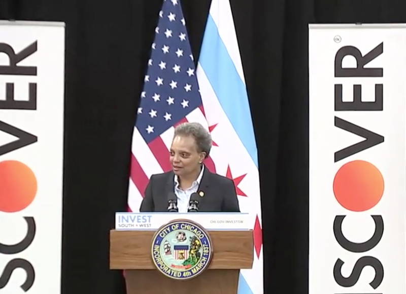 Mayor Lori Lightfoot joined Discover Financial Services on Thursday to announce plans for a new Chicago-based Discover customer care center in Chicago's Chatham neighborhood.