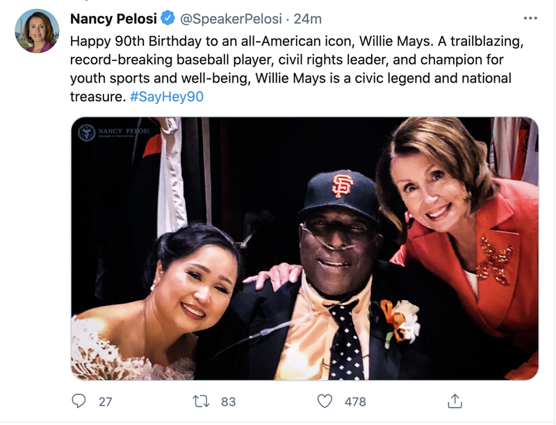 Pelosi's since-deleted tweet, featuring a picture of her and Willie McCovey.