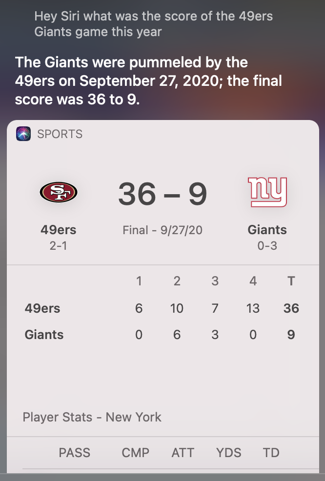 Siri on 49ers-Giants