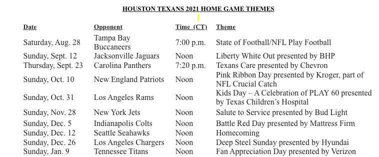 Theme Schedule