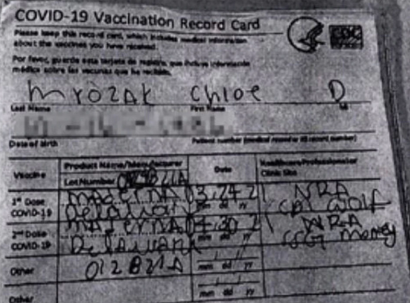The fraudulent vaccine card in question was handwritten and had 'Maderna' instead of 'Moderna' written in for both doses.