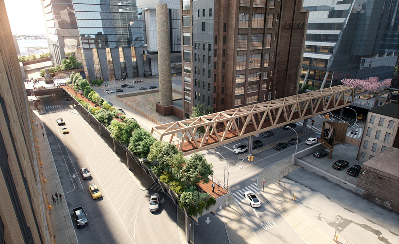 """The official renderings for the """"L""""-shaped expansion of the High Line that will connect Manhattan's elevated park to the Moynihan Train Hall."""