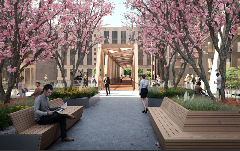 """The official renderings for the """"L""""-shaped expansion of the High Line that will connect Manhattan's elevated park to the Moynihan"""