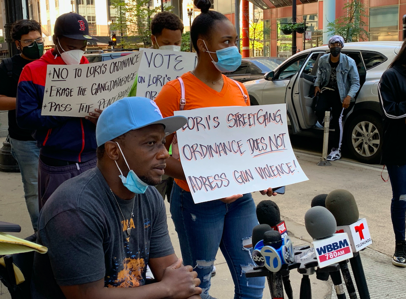 opponents of gang measure at City Hall