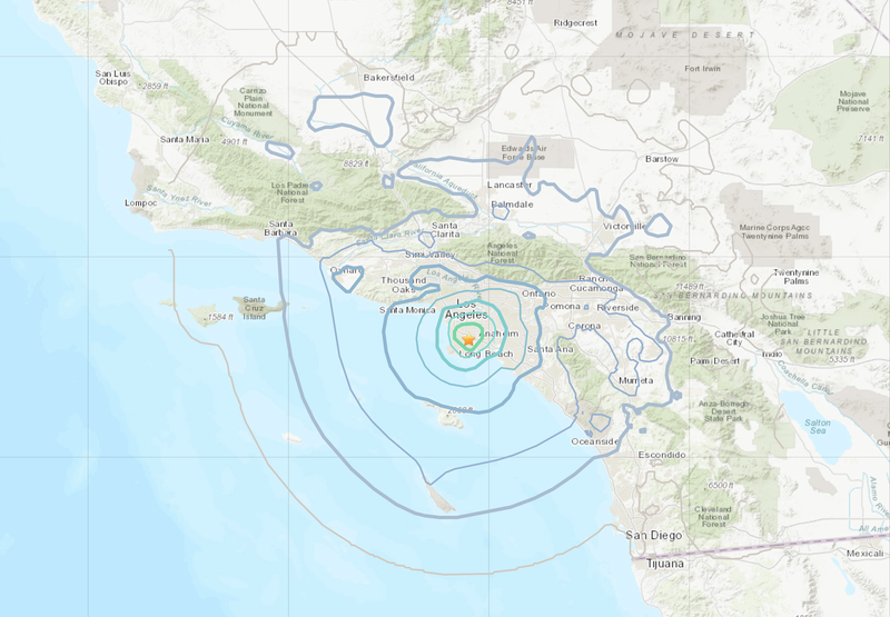 USGS map of the earthquake zone.