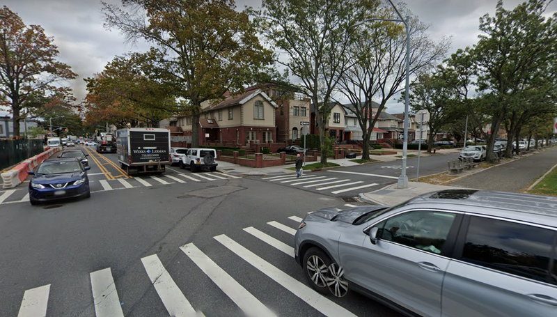 The corner of Avenue U and Ocean Parkway, where a left-turning driver fatally struck a 90-year-old woman and injured another Tuesday morning, Sept. 28, 2021, police said.