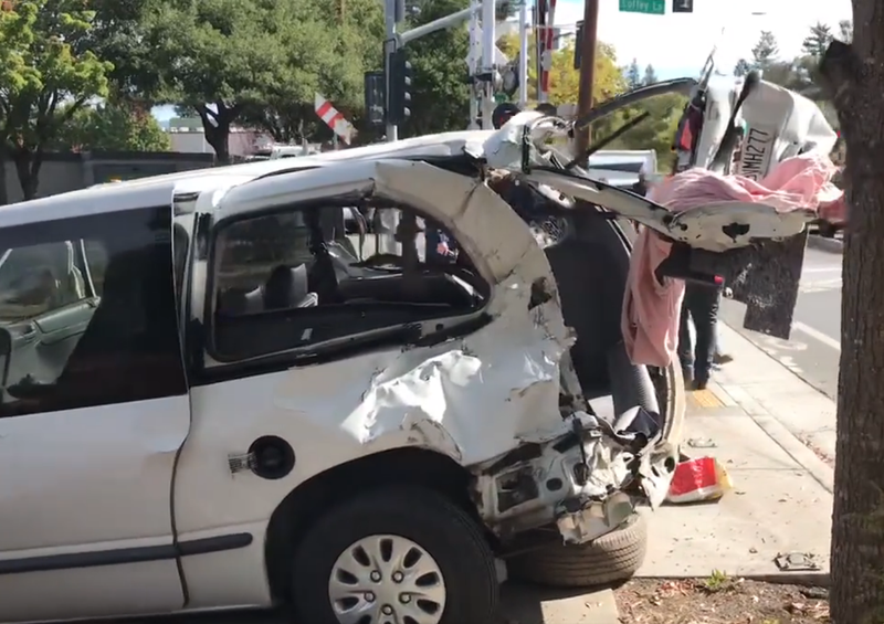 A Santa Rosa man driving a white minivan was hit by a SMART train Wednesday morning.