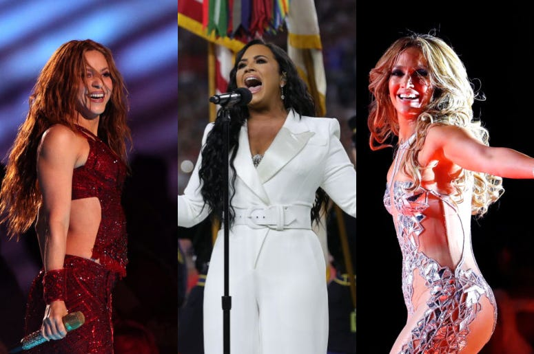 Shakira, Demi Lovato, Jennifer Lopez at Super Bowl 2020